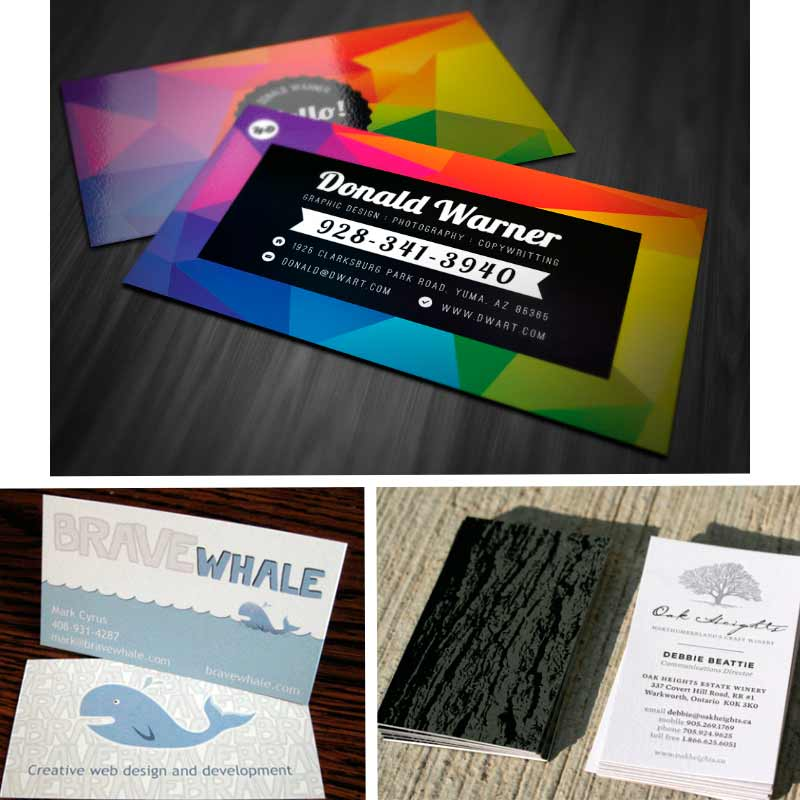 Two sided business cards with vivid colors