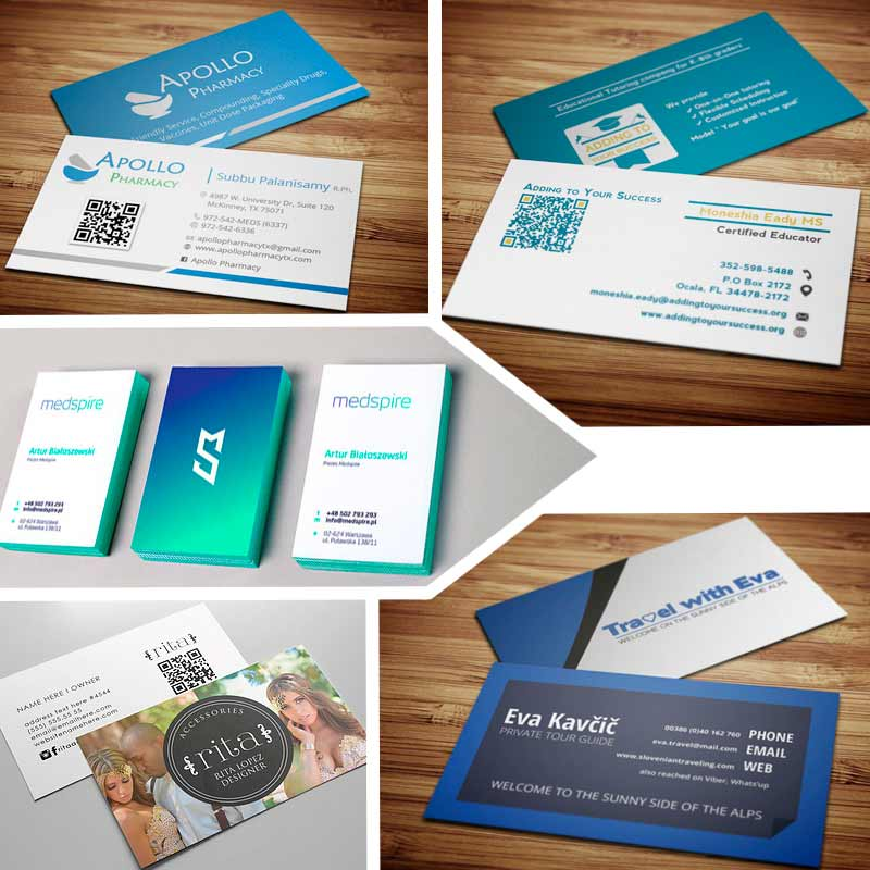 double sided business card template with QR code