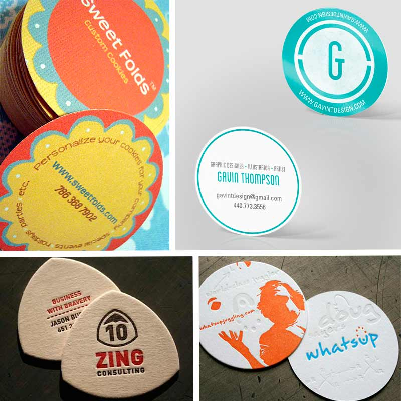 Two sided business card template with circular form