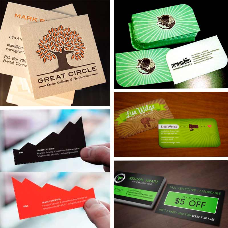 Double sided business cards template having irregular shape